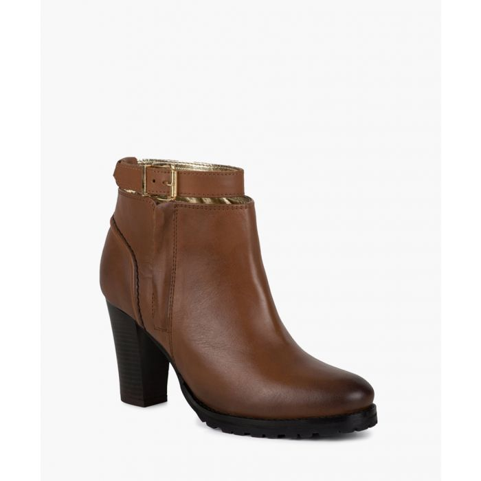 Image for Tan leather heeled ankle boots