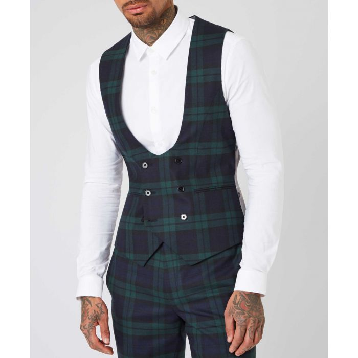 Image for Green wool blend tartan waistcoat