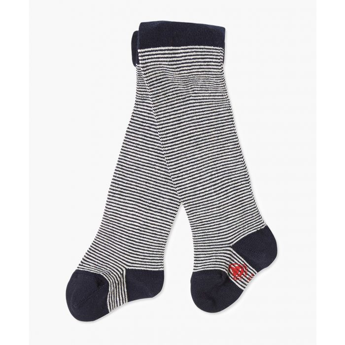 Image for Girls navy cotton blend stripe tights