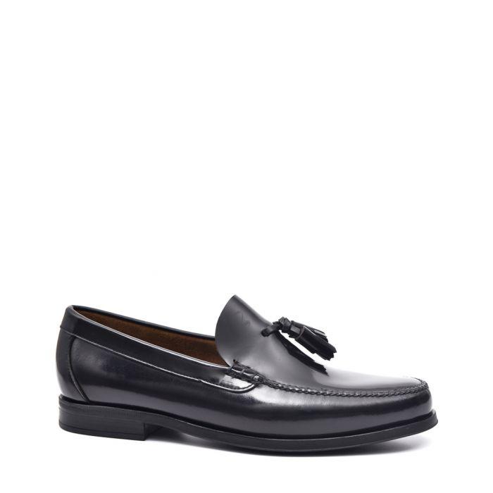 Image for Men's Black leather tassel loafers