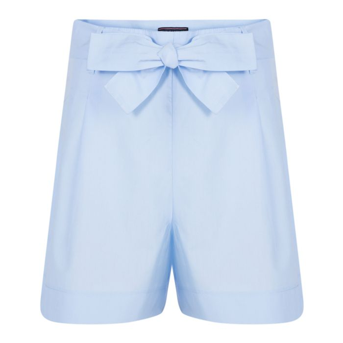 Image for Blue pure cotton bow-waist shorts