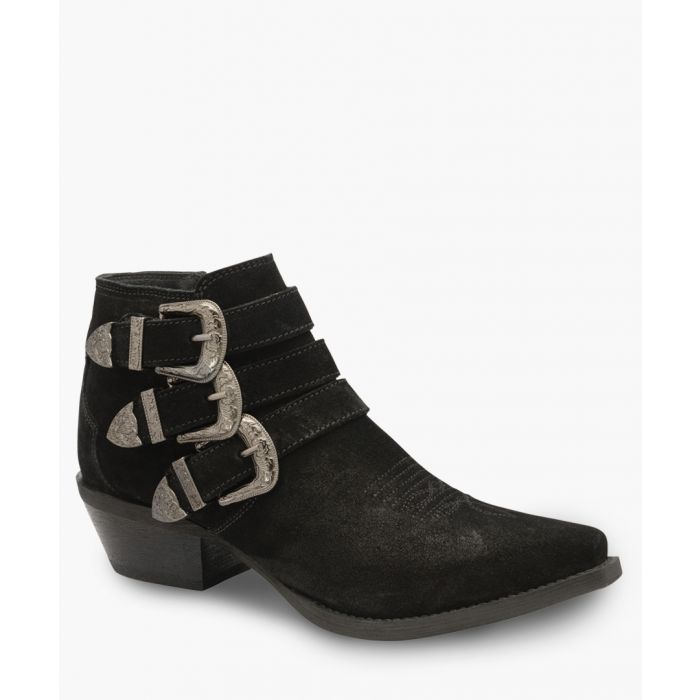 Image for Black leather buckle ankle boots