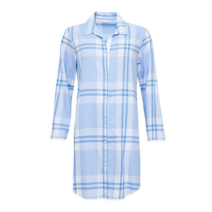 Image for Amelia blue cotton checked nightdress
