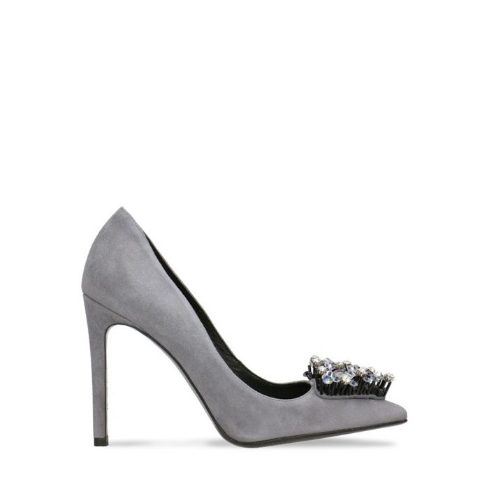 Image for Dark grey embellished suede stilettos