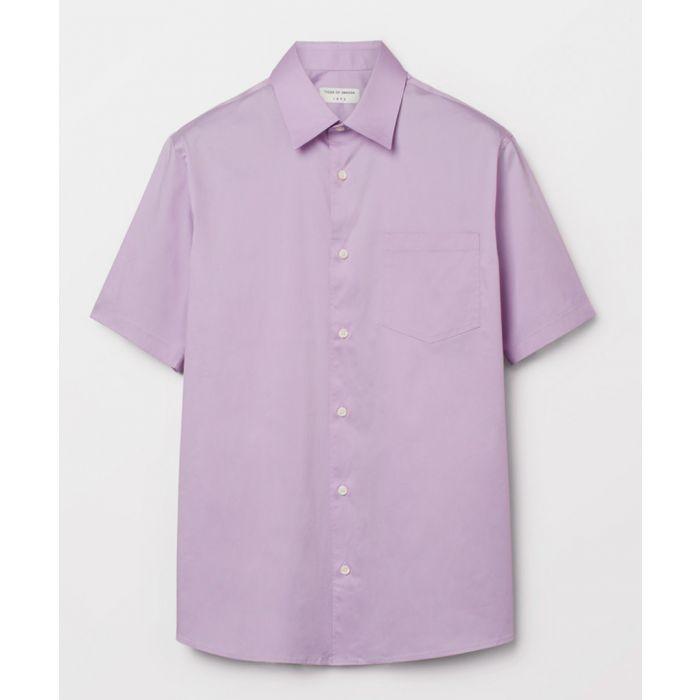 Image for Purple cotton blend button-up shirt