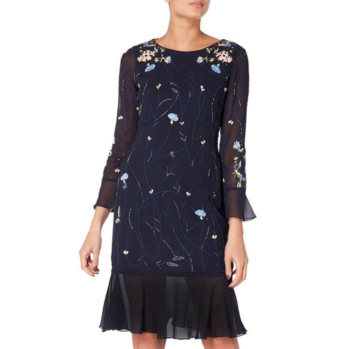 Image for midnight floral sheer hem dress