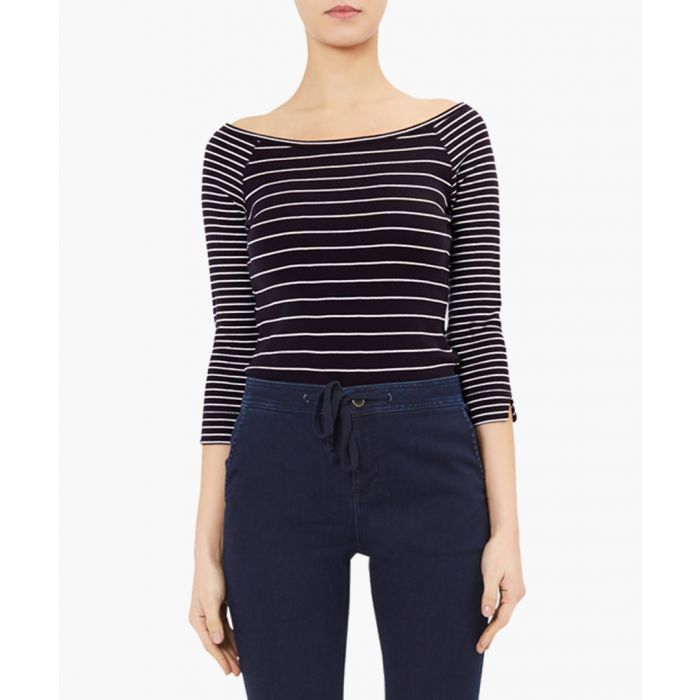 Image for Campbell navy cotton stripe top