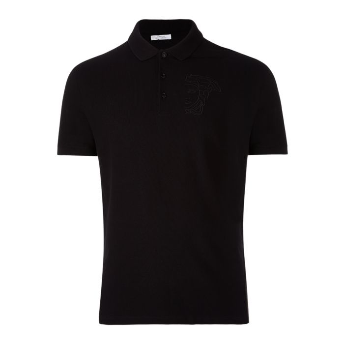 Image for Black pure cotton polo shirt
