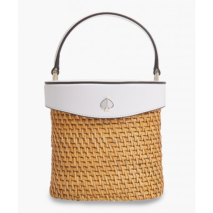Image for Rose mini white leather bucket bag