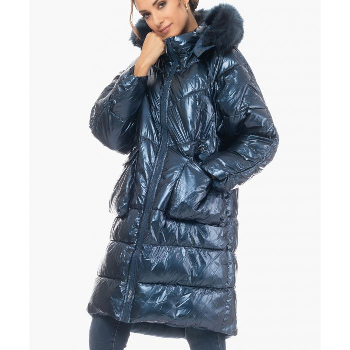 Image for Blue faux fur hooded puffer coat