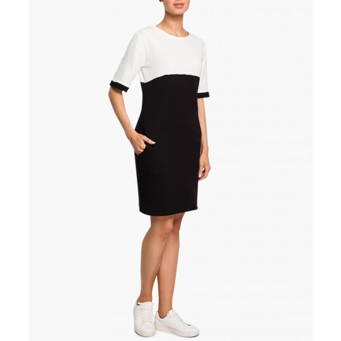 Image for Black and white cotton blend dress