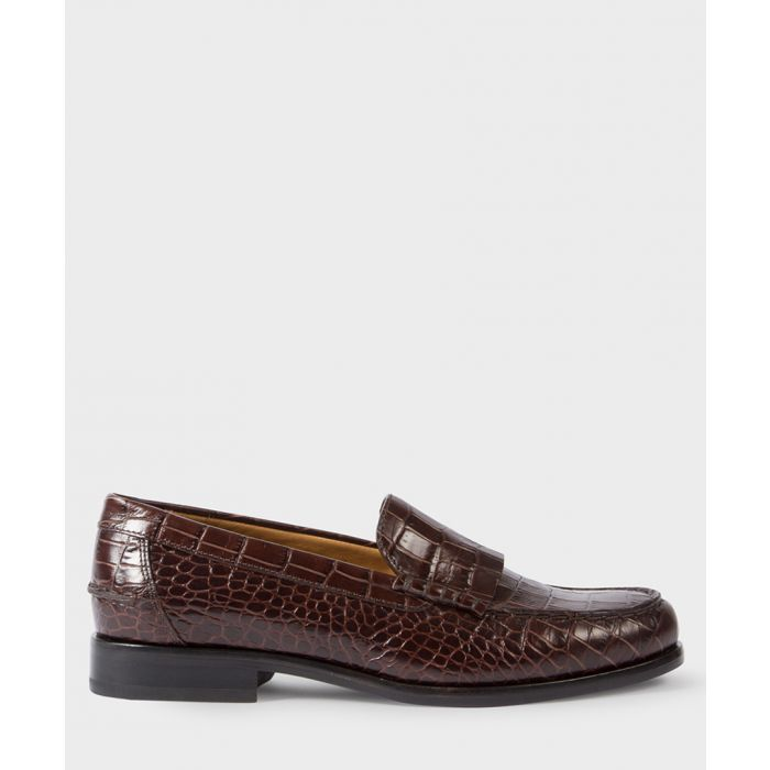 Image for Maroon moc-croc leather shoes
