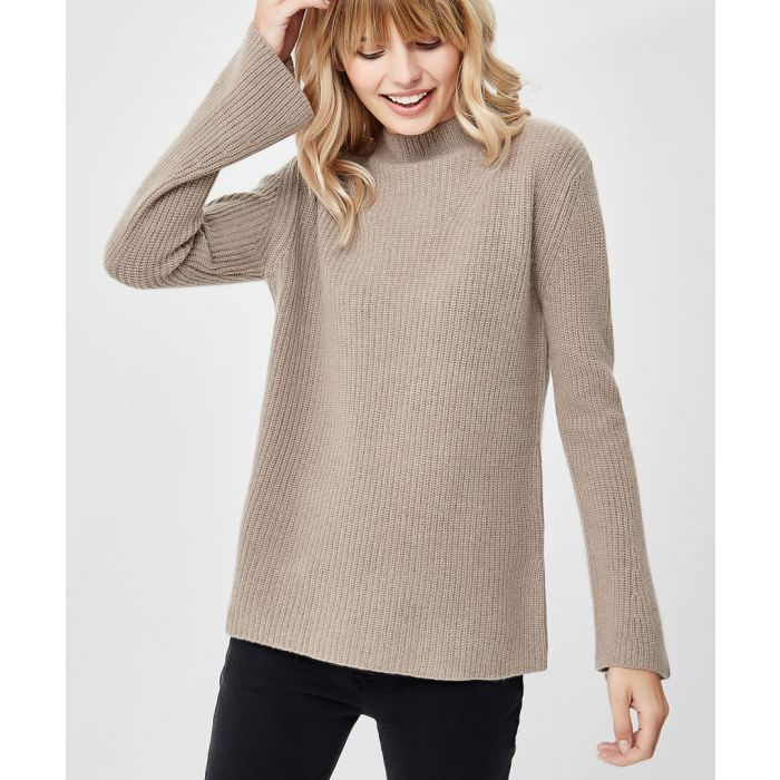 Image for Brown pure cashmere high-neck jumper