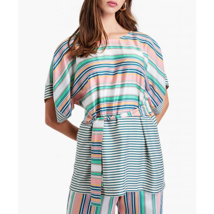 Image for Multi-colour belted striped top