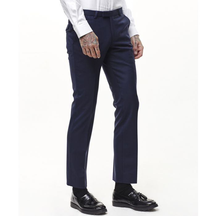 Image for Navy wool blend trousers
