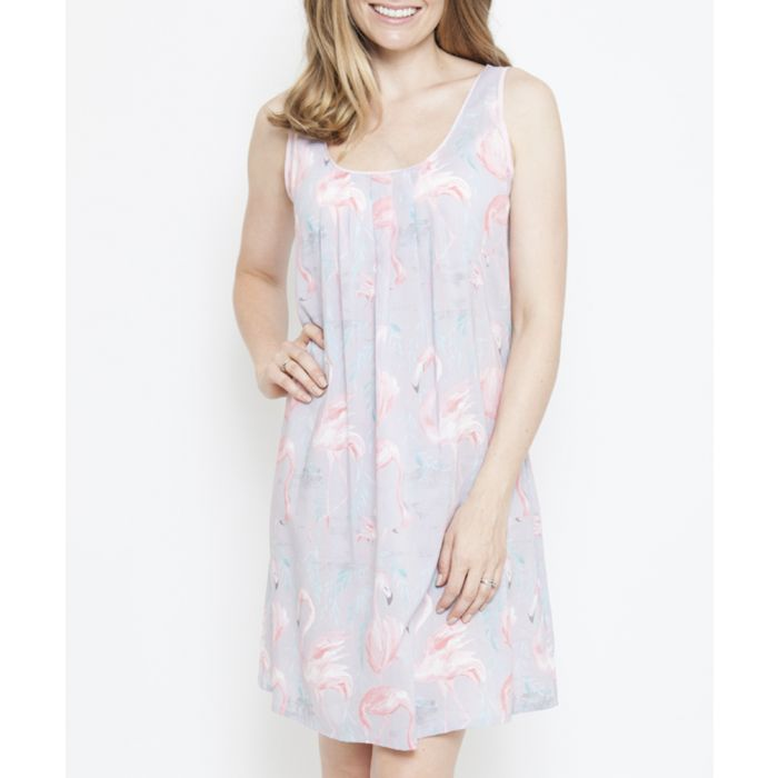 Image for Zara grey cotton-blend flamingo print chemise