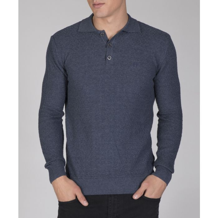 Image for Navy cotton blend checked shirt