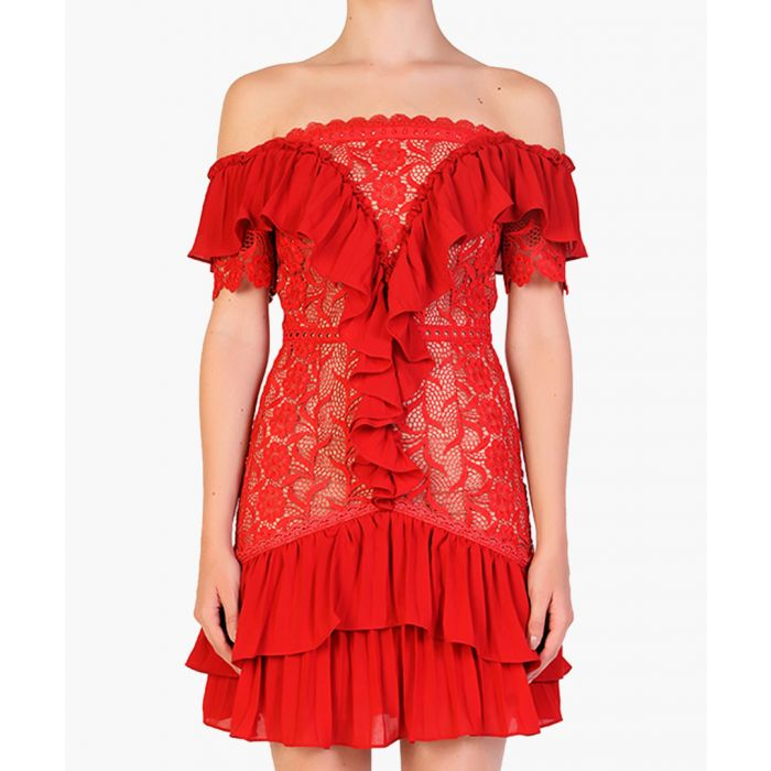 Image for Red ruffle off-the-shoulder mini dress