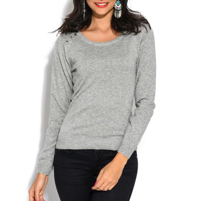 Image for Grey cashmere and silk blend jumper