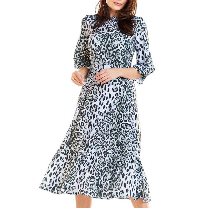 Image for White & black leopard printed midi dress