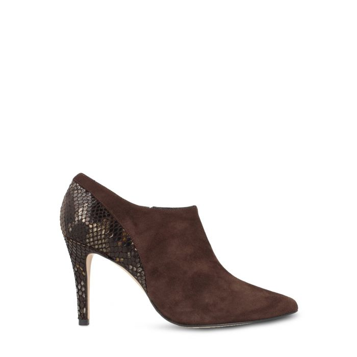 Image for Brown leather snake-effect ankle boots