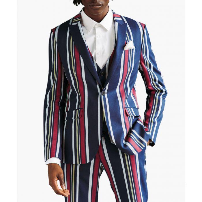 Image for Bold striped skinny suit jacket