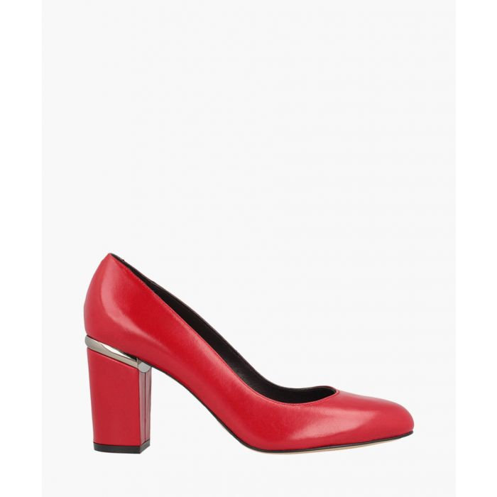 Image for Red leather squared heel courts