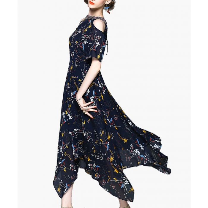 Image for Navy flower print cold shoulder dress