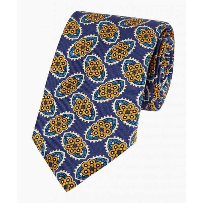 Image for Navy and gold silk floral print English luxury tie