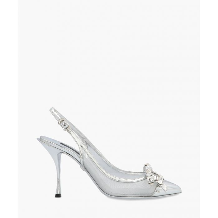 Image for Lori silver-tone mesh and leather slingback pumps