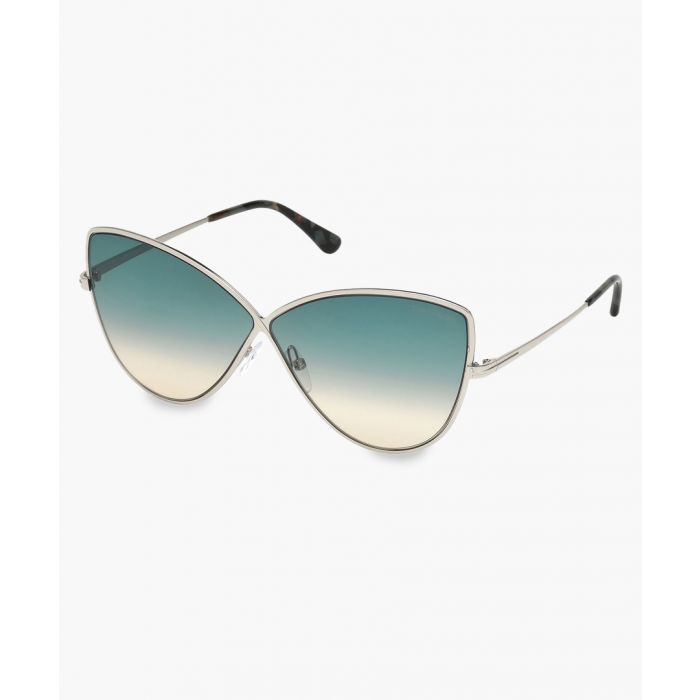 Image for Silver-tone and blue gradient sunglasses