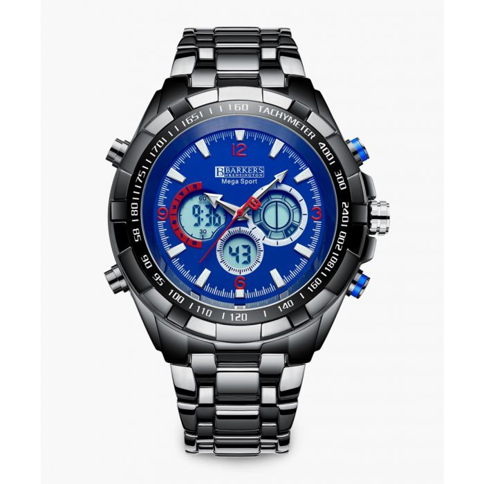 Image for Mega Sport blue stainless steel link watch