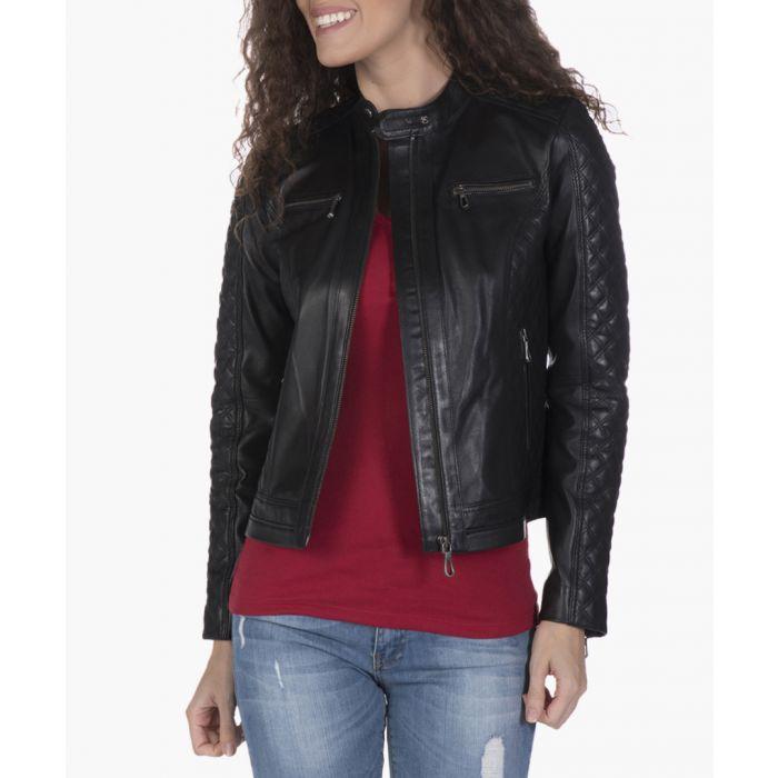 Image for Black leather quilted sleeve biker jacket