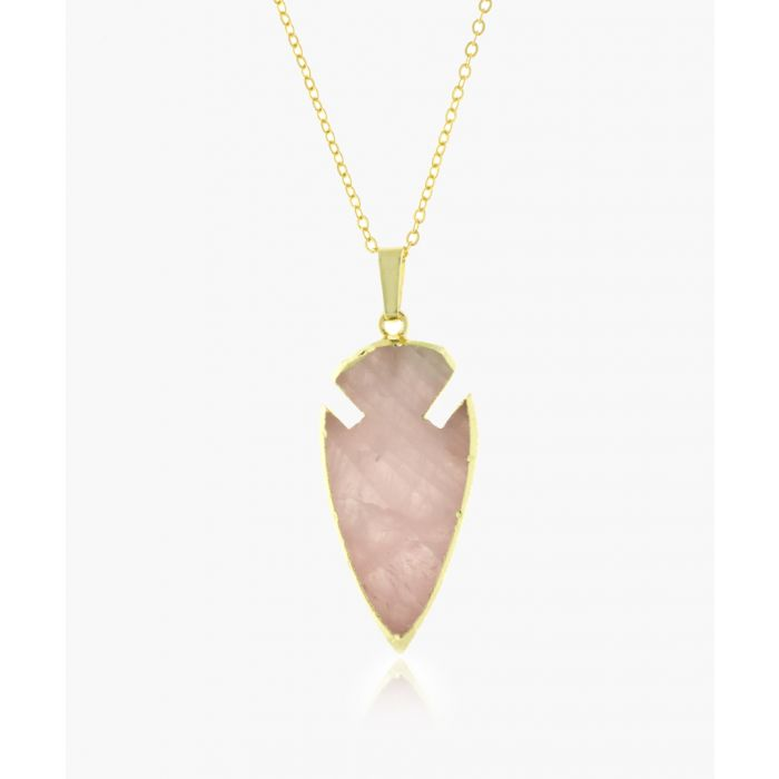Image for Arrowhead 14k gold-plated and rose quartz necklace