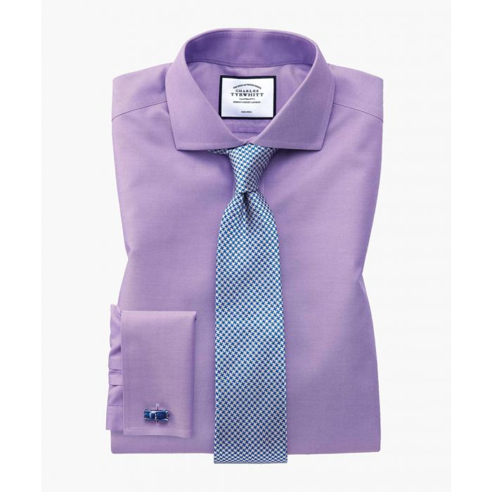 Image for Lilac twill non-iron cutaway collar slim fit shirt