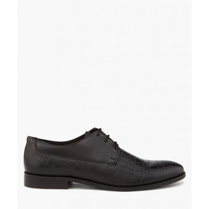 Image for Black moc-croc derby shoes