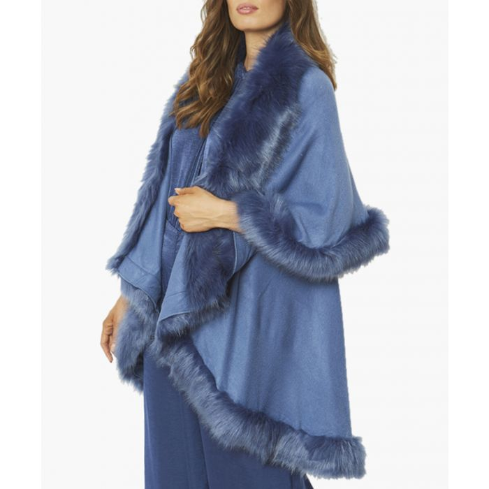 Image for Blue knitted luxury faux fur cape