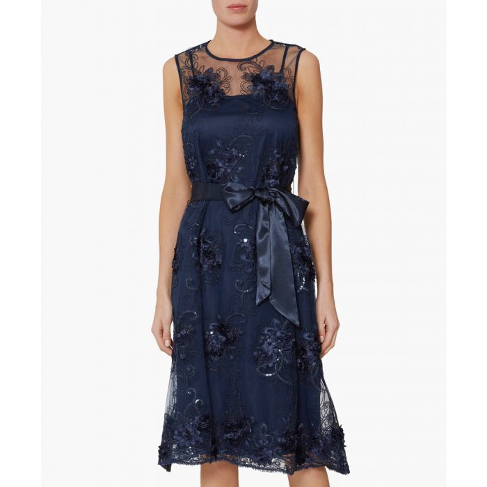 Image for Navy becky embroidered dress