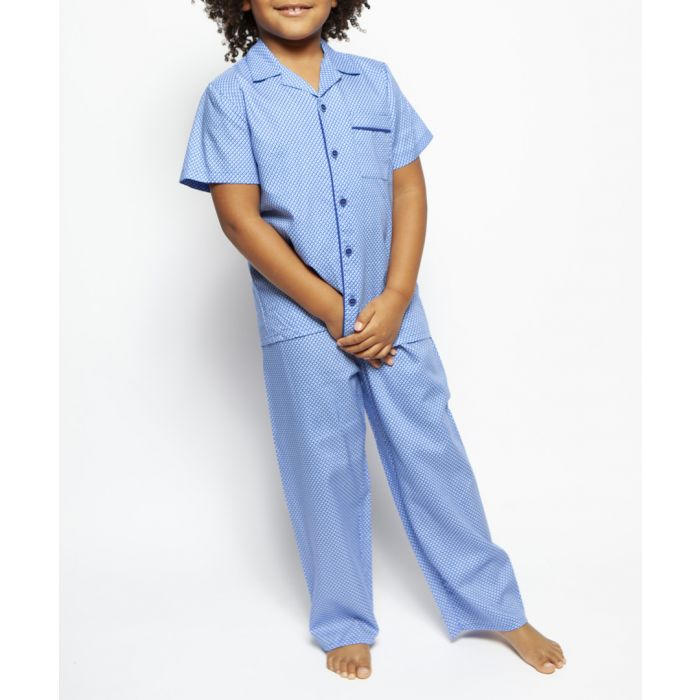 Image for 2pc Oscar blue geometric pyjama set