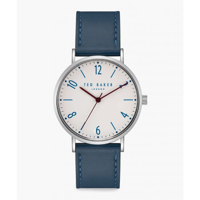Image for Hank blue leather and stainless steel watch
