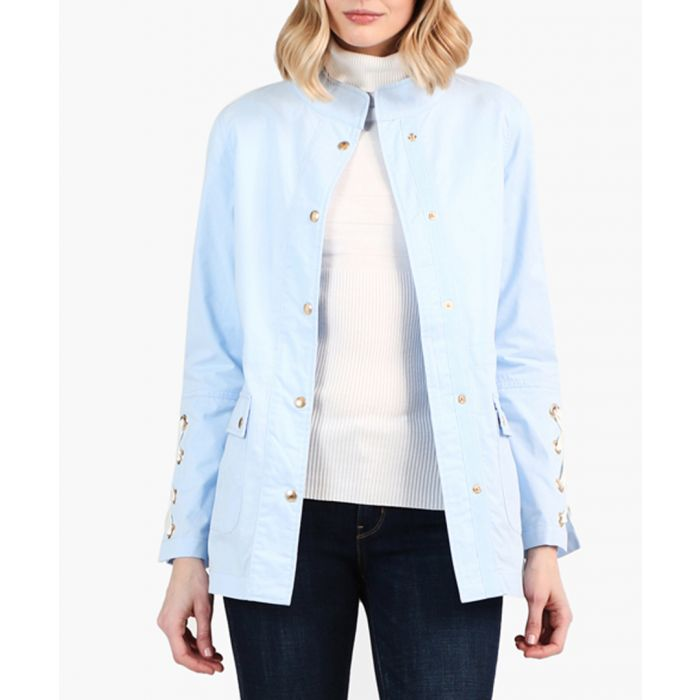Image for Blue pure cotton lace-up jacket