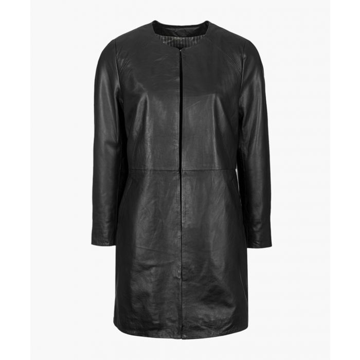 Image for Womens black collarless coat