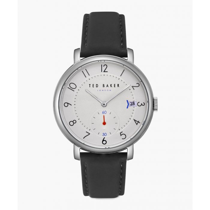 Image for Oscar black leather and stainless steel watch
