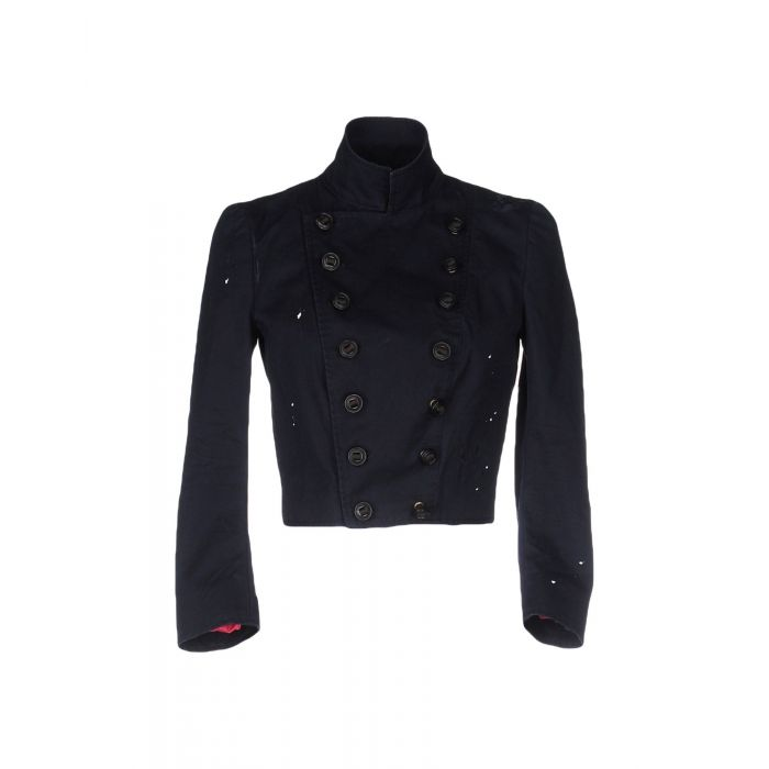 Image for Dark blue military cotton cropped jacket