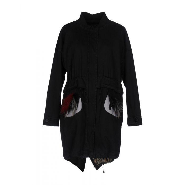 Image for Black faux-fur detail cotton-blend parka