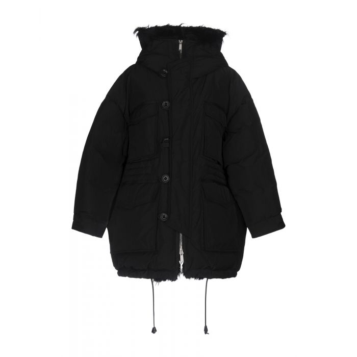 Image for Black faux-fur lined down jacket