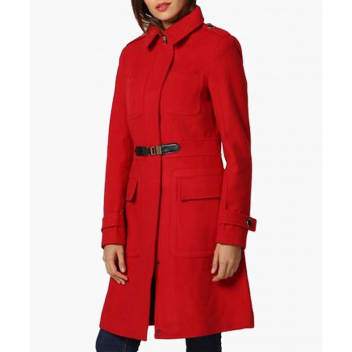 Image for Red wool blend waist detail coat