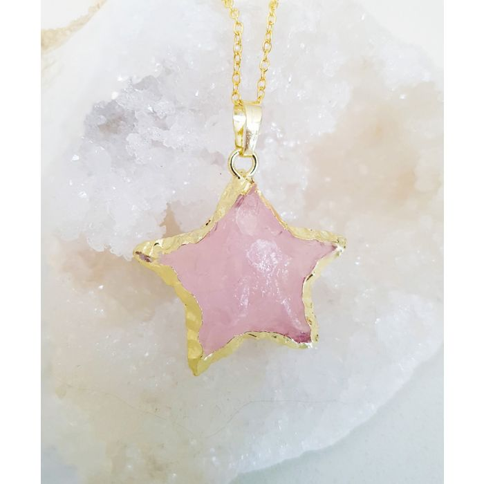 Image for 14k gold-plated and rose quartz necklace