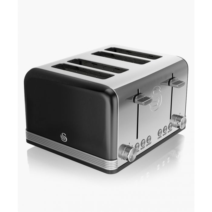 Image for Black retro 4-slice toaster