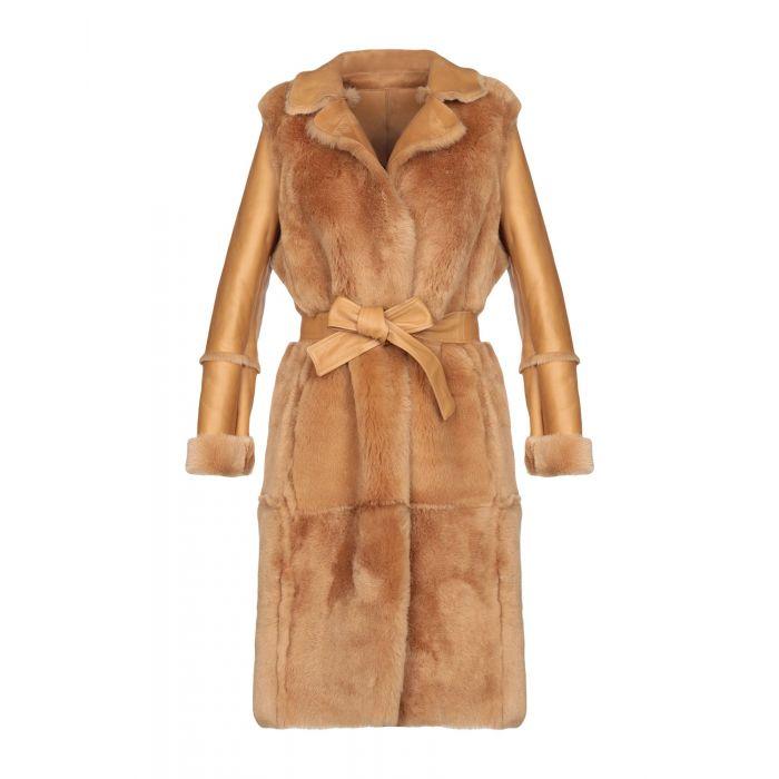 Image for Camel black leather coat
